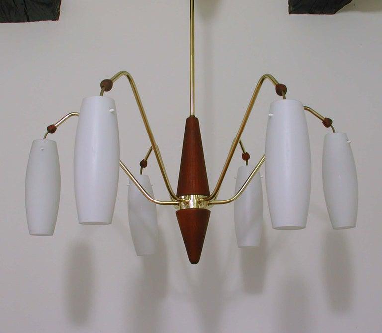 Scandinavian Midcentury Teak and Satin Glass Six-Light Chandelier, Sweden, 1960s For Sale 4