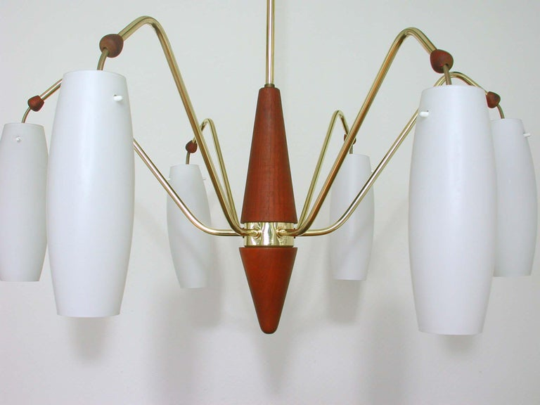 Swedish Scandinavian Midcentury Teak and Satin Glass Six-Light Chandelier, Sweden, 1960s For Sale