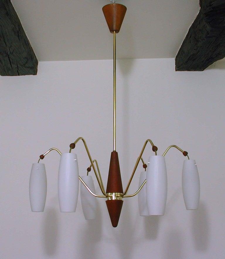 Mid-20th Century Scandinavian Midcentury Teak and Satin Glass Six-Light Chandelier, Sweden, 1960s For Sale