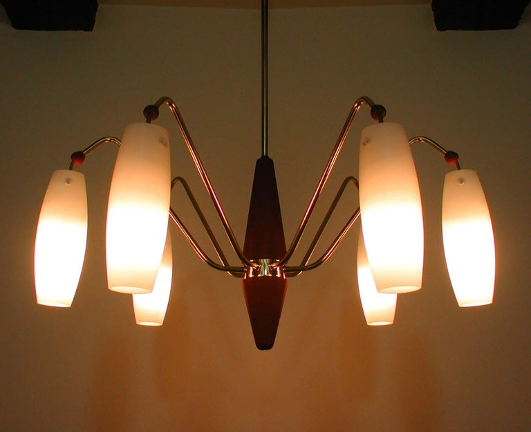 Scandinavian Midcentury Teak and Satin Glass Six-Light Chandelier, Sweden, 1960s For Sale 2