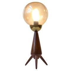 Scandinavian Midcentury Tripod Table Lamp in Teak and Glass, 1960s