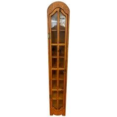 Scandinavian Midcentury Very Narrow Danish Display Case Cabinet Eight Shelves