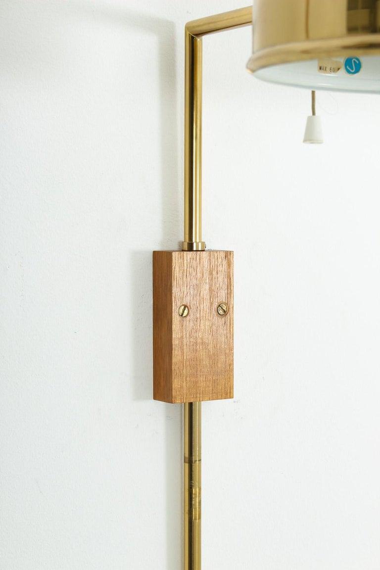 Scandinavian Midcentury Wall Lamps in Brass by Bergboms, Sweden For Sale 1