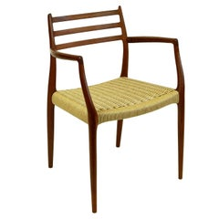 Scandinavian Mod. 62 Teak with Papercord Armchair by Niels Otto Moller