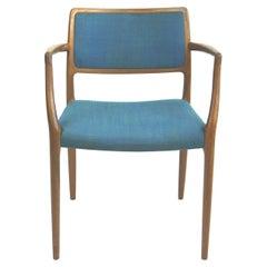 Scandinavian Mod. 65 Teak and Blue Fabric Armchair by Niels Otto Moller