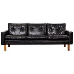 Scandinavian Modern 1960s Black Leather Three-Seat Sofa with Teak Legs