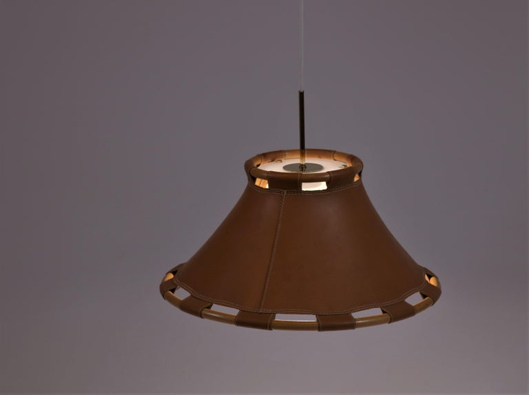 Swedish Scandinavian Modern 1970s Leather Pendant Lamp by Anna Ahrens for Ateljé, Sweden For Sale