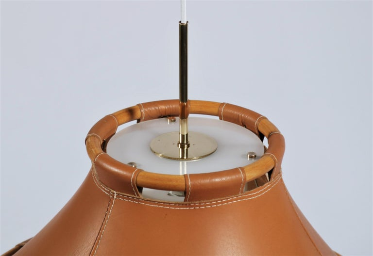 Late 20th Century Scandinavian Modern 1970s Leather Pendant Lamp by Anna Ahrens for Ateljé, Sweden For Sale