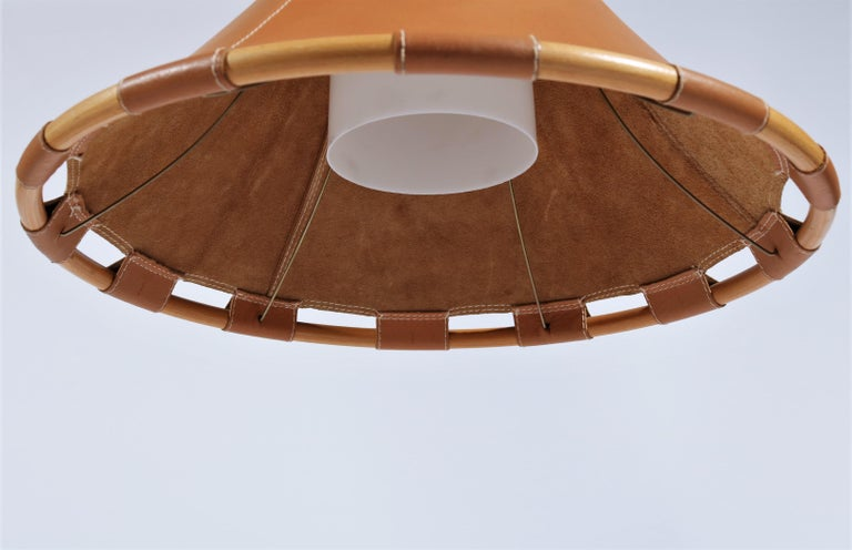 Scandinavian Modern 1970s Leather Pendant Lamp by Anna Ahrens for Ateljé, Sweden For Sale 1