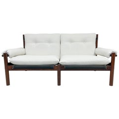 Scandinavian Modern 2 Seat Sofa White Textile and Stained Wood