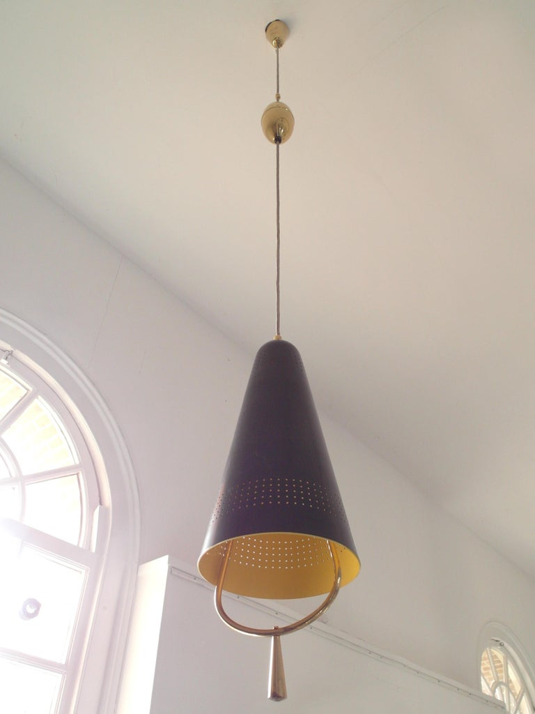Scandinavian Modern Adjustable Pendel Pendant Light, Finland, 1950s For Sale 2