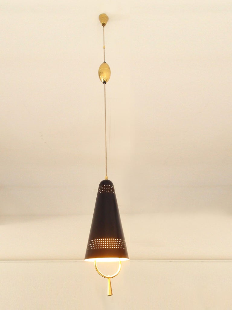 Scandinavian Modern Adjustable Pendel Pendant Light, Finland, 1950s For Sale 8