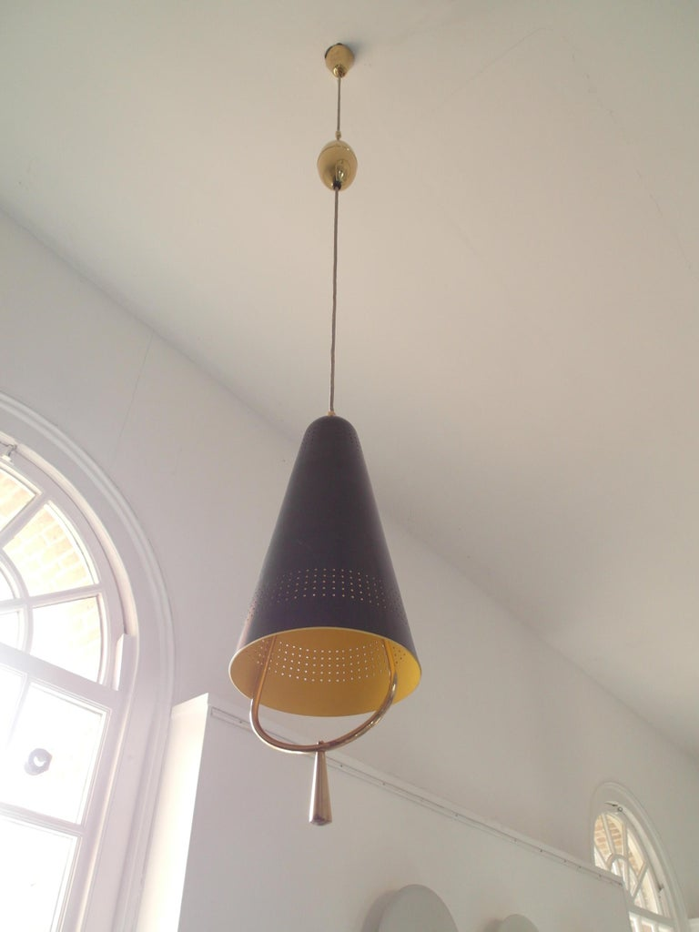 Mid-Century Modern Scandinavian Modern Adjustable Pendel Pendant Light, Finland, 1950s For Sale