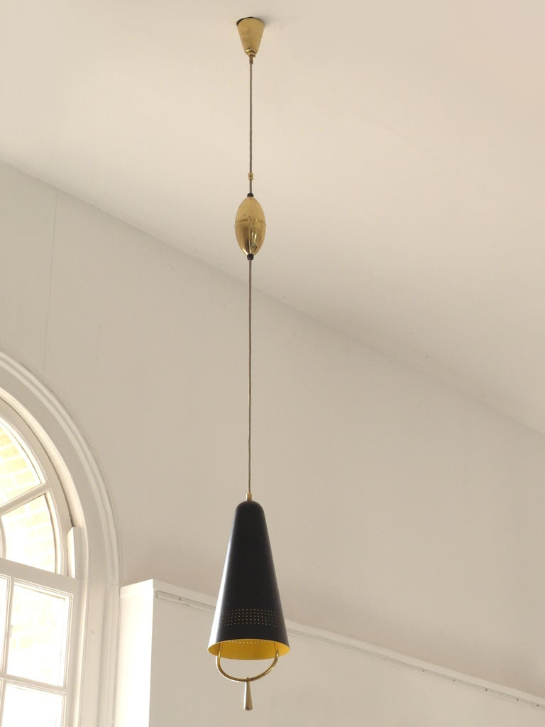 Finnish Scandinavian Modern Adjustable Pendel Pendant Light, Finland, 1950s For Sale