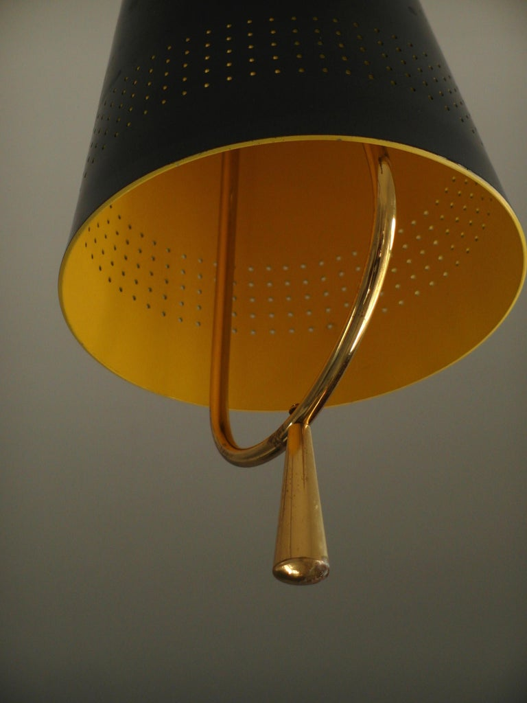 Lacquered Scandinavian Modern Adjustable Pendel Pendant Light, Finland, 1950s For Sale