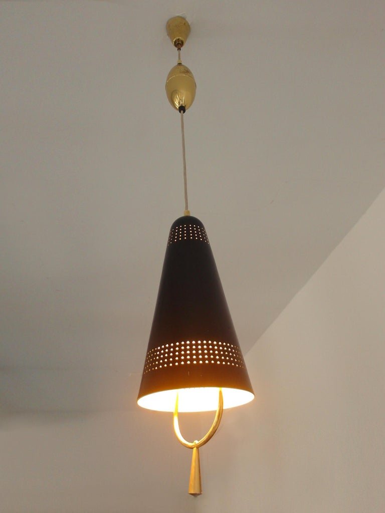 Mid-20th Century Scandinavian Modern Adjustable Pendel Pendant Light, Finland, 1950s For Sale