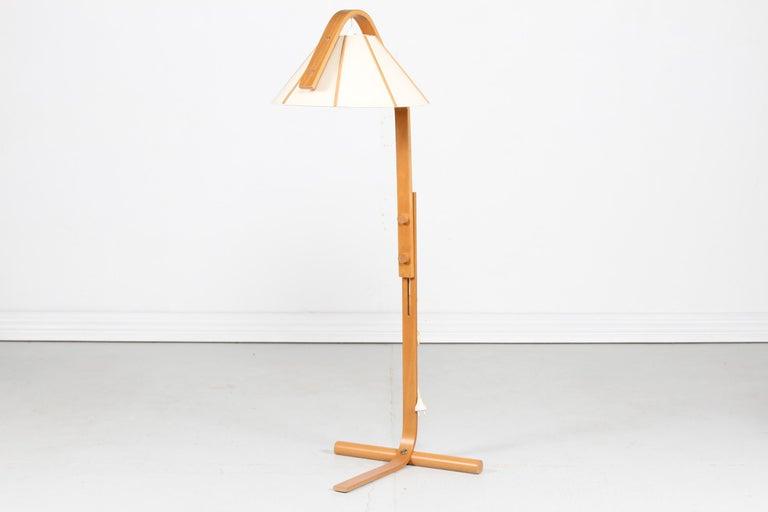 Brass and Beechwood Floor Lamp The