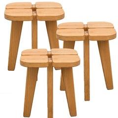 "Scandinavian Modern ""Apila"" pinewood stools by Lisa Johansson-Pape, Finland"