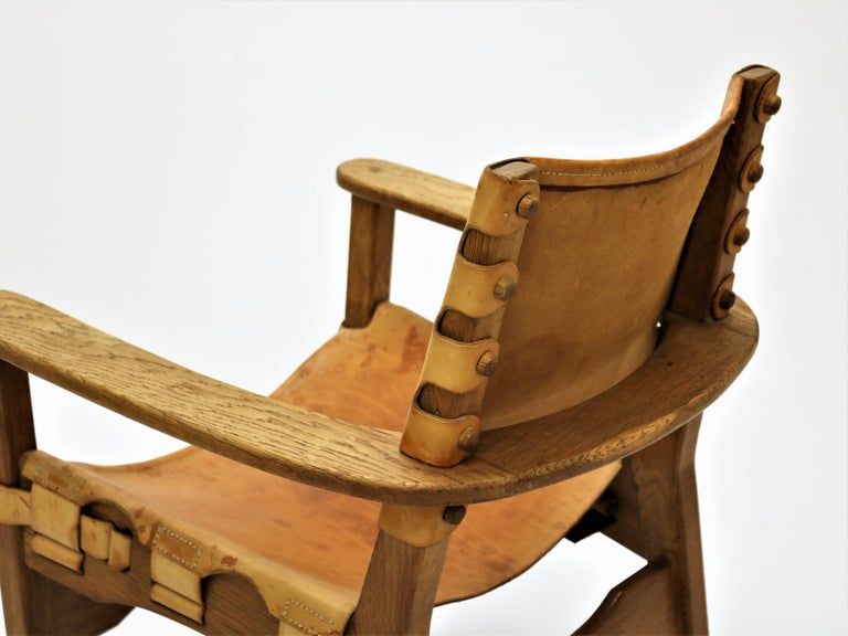 Danish Scandinavian Modern Armchair in Oak and Saddle Leather, 1960s For Sale
