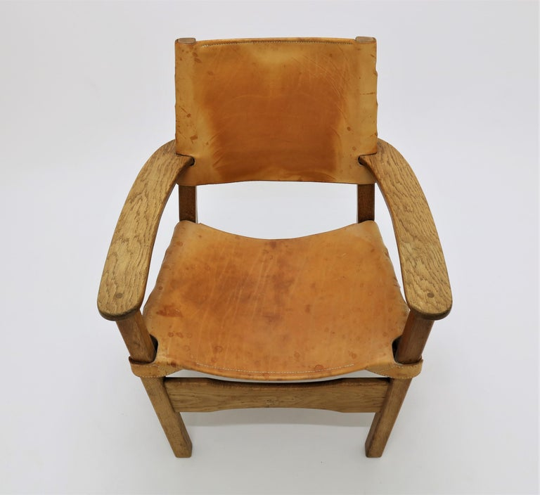 Scandinavian Modern Armchair in Oak and Saddle Leather, 1960s For Sale 1