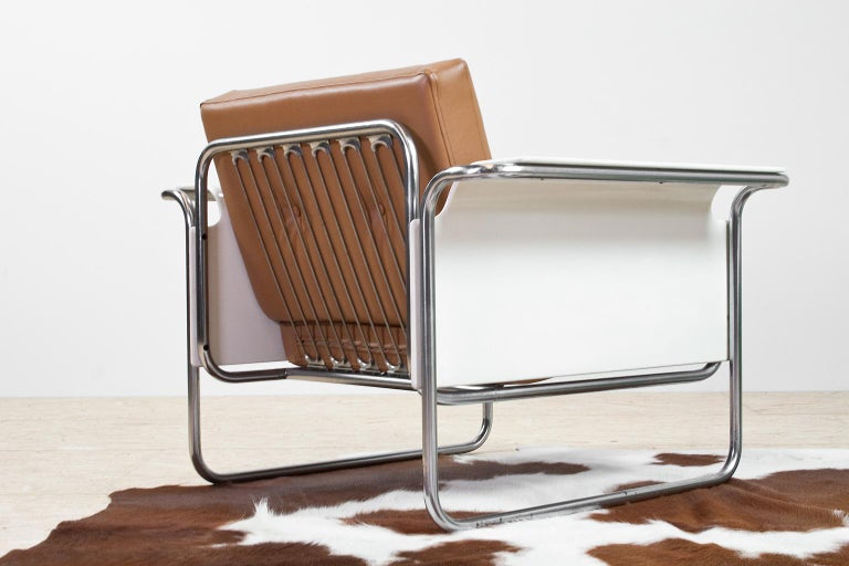Mid-20th Century Scandinavian Modern Armchair in Faux Leather and Bent Plywood Armrests, 1950s For Sale