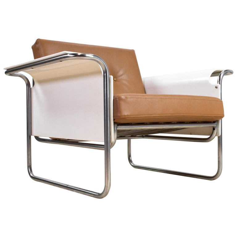 Scandinavian Modern Armchair in Faux Leather and Bent Plywood Armrests, 1950s For Sale