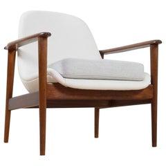 Scandinavian Modern Armchair in Teak and Wool, Manner of Ib Kofod Larsen, 1950s