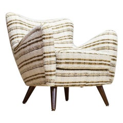 Scandinavian Modern Armchairs in Beige Teddy, 1940s, Style of Frits Schlegel
