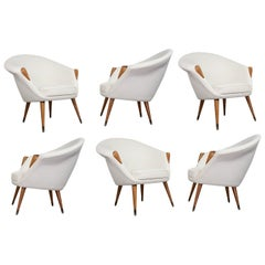 Scandinavian Modern Armchairs in Elm Reupholstered Off-White Wool, 1950s