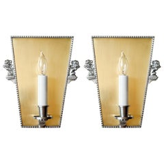 Scandinavian Modern Art Deco Brass, & Pewter Sconces Elis Bergh for C G Hallberg