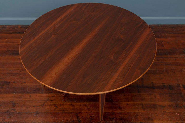 Peter Hvidt & Orla Moregaard Nielsen design Ax teak and maple coffee table. Striking table just newly refinished and ready to enjoy.
