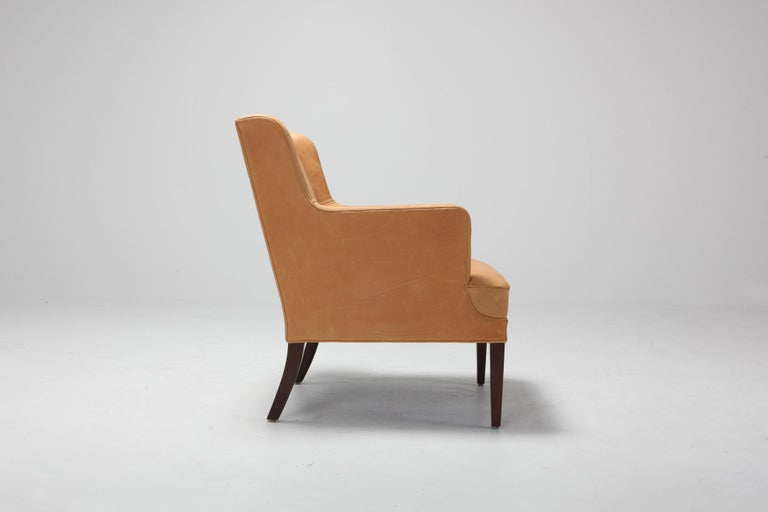 Scandinavian Modern Bergere Chairs in Camel Leather For Sale 5