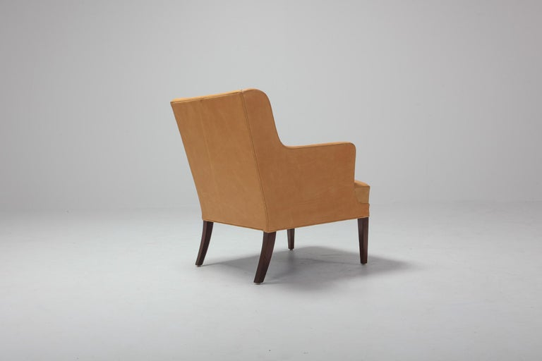Scandinavian Modern Bergere Chairs in Camel Leather For Sale 6