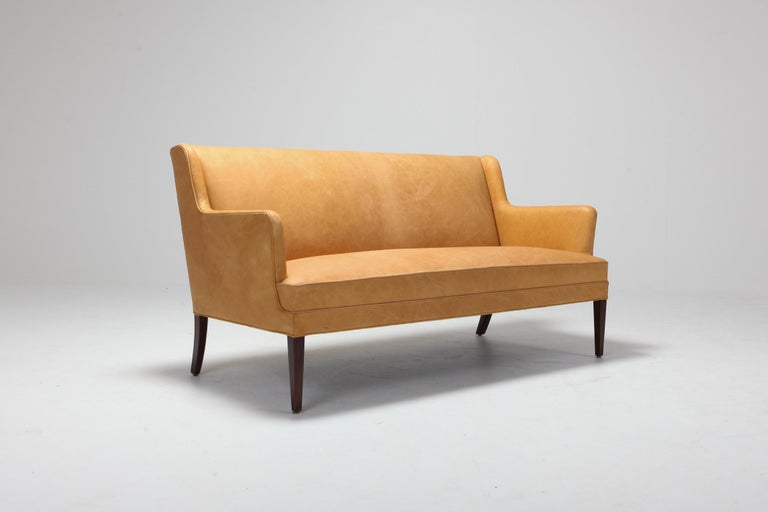 Scandinavian Modern Bergere Chairs in Camel Leather For Sale 7