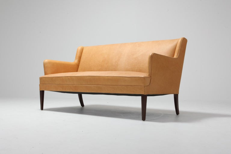 Scandinavian Modern Bergere Chairs in Camel Leather For Sale 8
