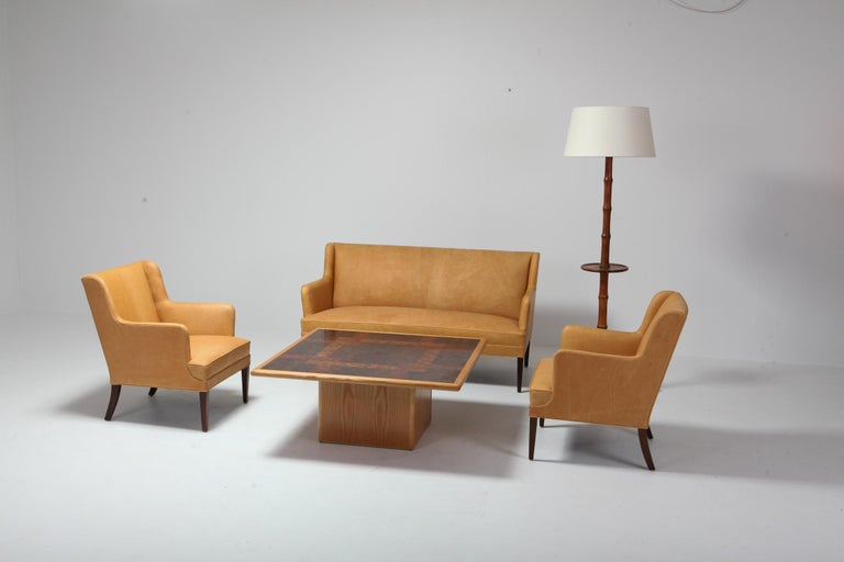 Scandinavian Modern Bergere Chairs in Camel Leather For Sale 12