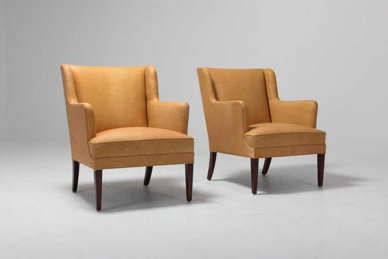Scandinavian Modern Bergere Chairs in Camel Leather In Excellent Condition For Sale In Antwerp, BE