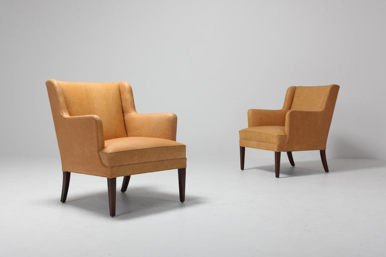 Mid-20th Century Scandinavian Modern Bergere Chairs in Camel Leather For Sale