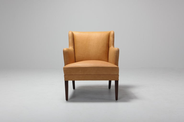 Scandinavian Modern Bergere Chairs in Camel Leather For Sale 3