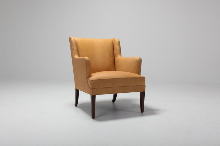 Scandinavian Modern Bergere Chairs in Camel Leather For Sale 4