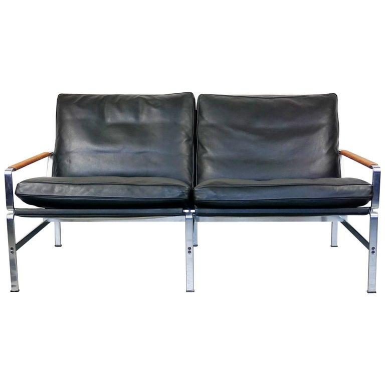 Scandinavian Modern Black Leather Two-Seat Sofa by Fabricius & Kastholm,  Lange