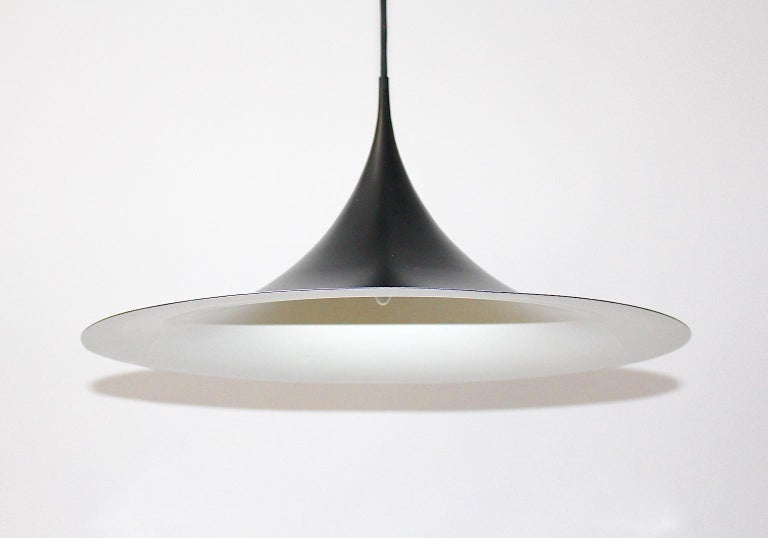 Enameled Scandinavian Modern Black Metal Chandelier Claus Bonderup and Thorsten Thorup For Sale