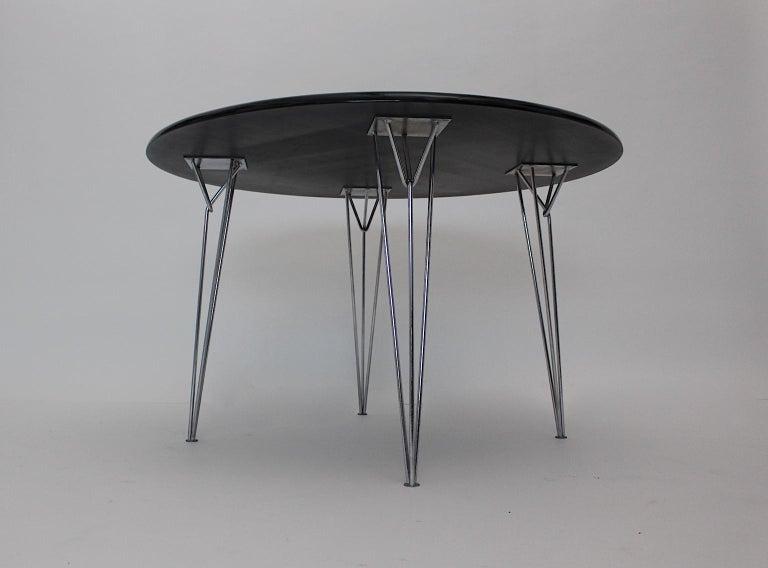 Scandinavian Modern Black Metal Vintage Dining Table Center Table, 1960s For Sale 4