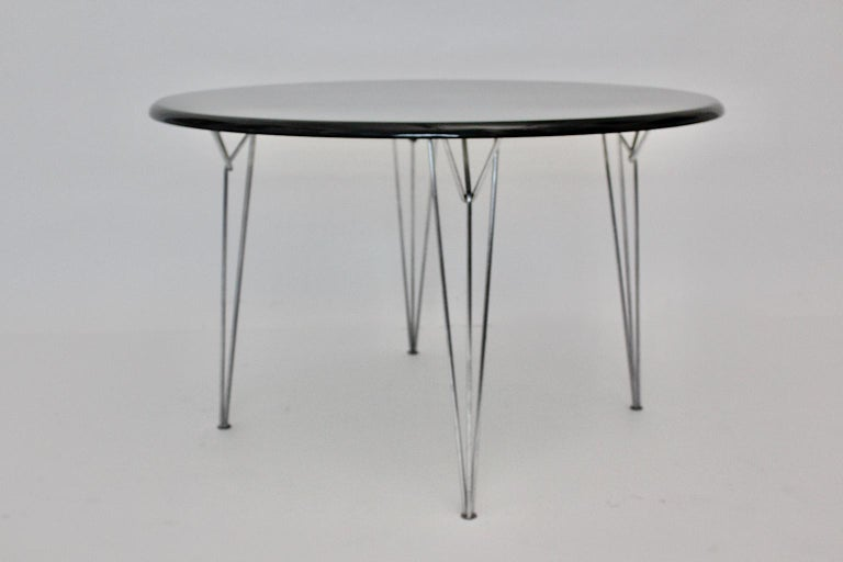 Scandinavian Modern Black Metal Vintage Dining Table Center Table, 1960s For Sale 6