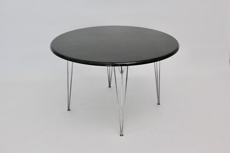 Scandinavian Modern Black Metal Vintage Dining Table Center Table, 1960s For Sale 7