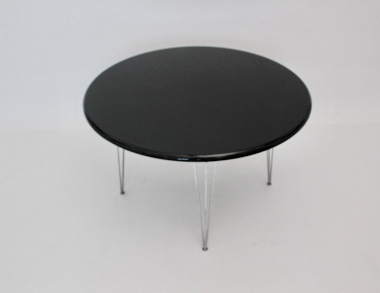 Scandinavian Modern Black Metal Vintage Dining Table Center Table, 1960s For Sale 8