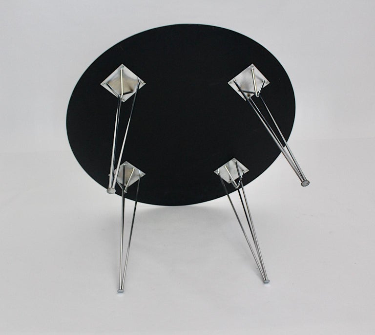 Scandinavian Modern Black Metal Vintage Dining Table Center Table, 1960s For Sale 13