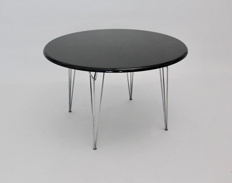 Lacquered Scandinavian Modern Black Metal Vintage Dining Table Center Table, 1960s For Sale