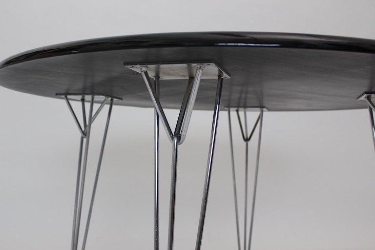 Scandinavian Modern Black Metal Vintage Dining Table Center Table, 1960s In Good Condition For Sale In Vienna, AT