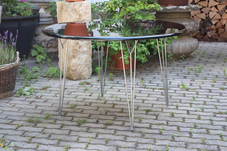 Scandinavian Modern Black Metal Vintage Dining Table Center Table, 1960s For Sale 3